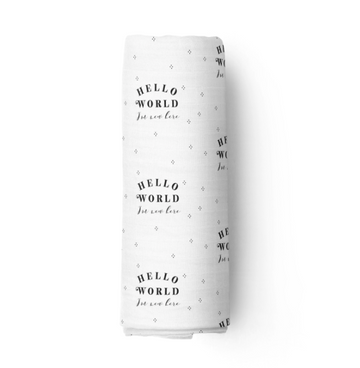 Hello World Muslin Swaddle, White | Piper Bug | Little Lights Co.