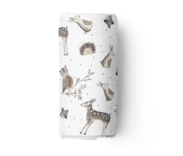 Bamboo Muslin Swaddle, Woodland | Piper Bug | Little Lights Co.