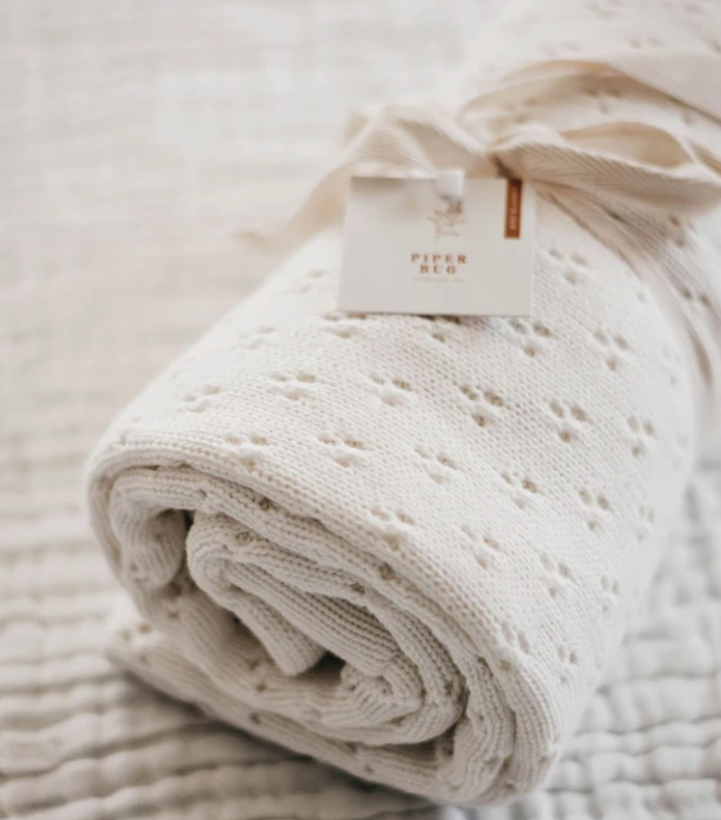 Heritage Knit Blanket, Snow | Piper Bug | Little Lights Co.