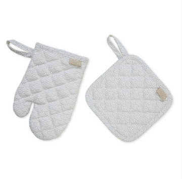 Kids Oven Glove & Pot Holder Set, Grey Wave  | CamCam | Little Lights Co.