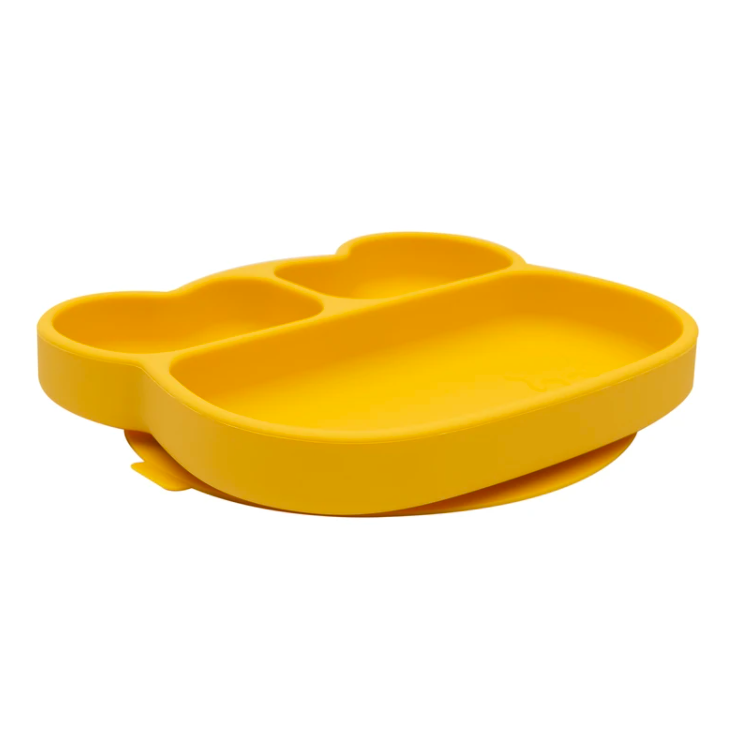 Bear Stickie Plate, Yellow | We Might Be Tiny | Little Lights Co.