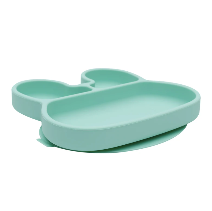 Bunny Stickie Plate, Mint | We Might Be Tiny | Little Lights Co.