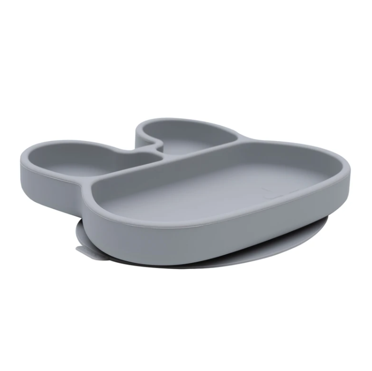 Bunny Stickie Plate, Grey | We Might Be Tiny - Little Lights Co.