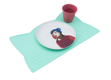 Cat Placemat, Mint Green | We Might Be Tiny | Little Lights Co.