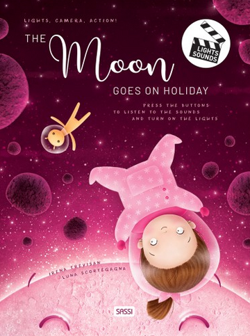 The Moon goes on Holiday - sound and light book | Sassi Junior | Little Lights Co.