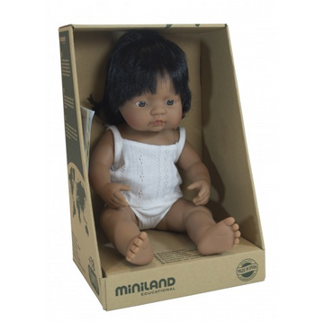 Miniland Doll, Anatomically Correct Baby Latin American Girl, 38cm