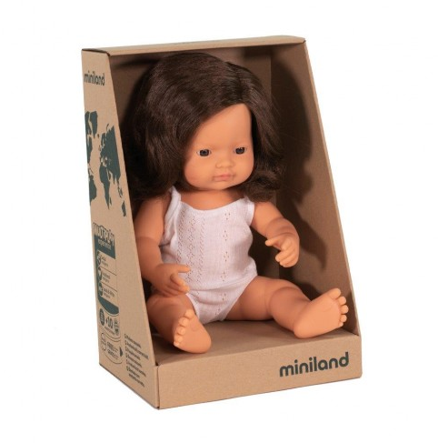 Miniland Doll, Anatomically Correct Baby Caucasian Brunette Girl, 38cm