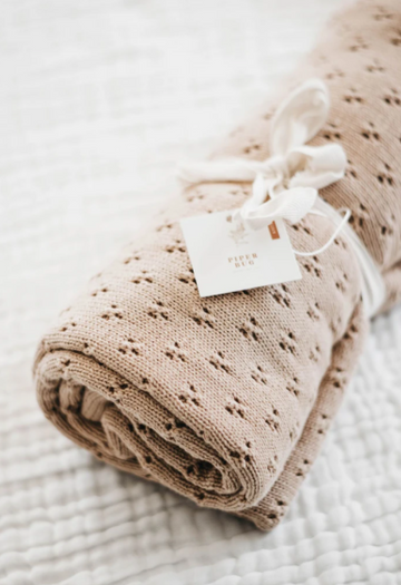 Heritage Knit Blanket, Oak | Piper Bug