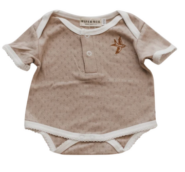 Short Sleeve Romper, Heritage Beige | Piper Bug | Little Lights Co.