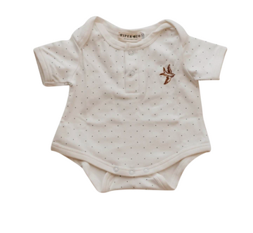 Short Sleeve Romper, Snow Dotty | Piper Bug | Little Lights Co.