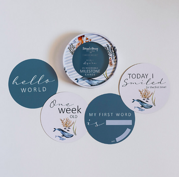 Snuggle Hunny Kids, Milestone Cards | Whale & Azure | Little Lights Co.