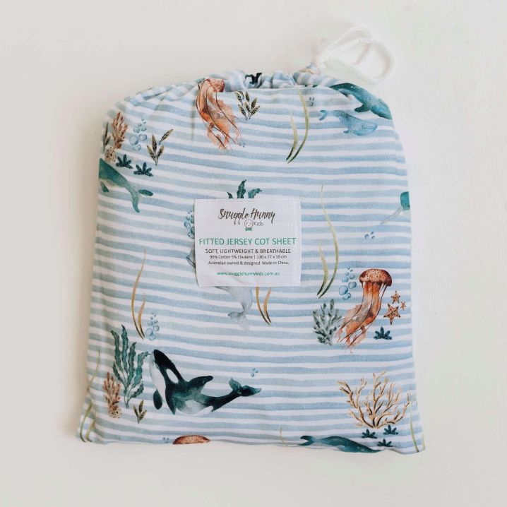 Snuggle Hunny Kids | Baby Fitted Cot Sheet - Whale