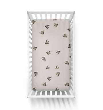 Jersey Fitted Cot Sheet, Bencer Bear | Piper Bug