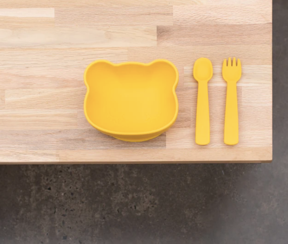 We Might Be Tiny | Feedie Fork & Spoon Set, Yellow