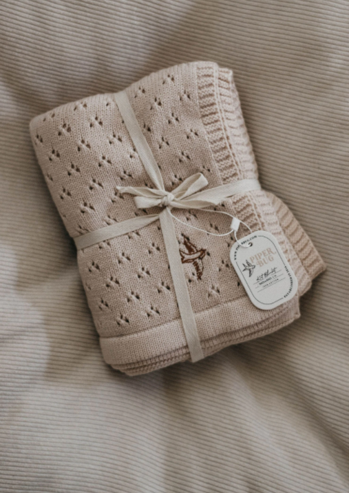 Heritage Knit Blanket, Shell Pink | Piper Bug