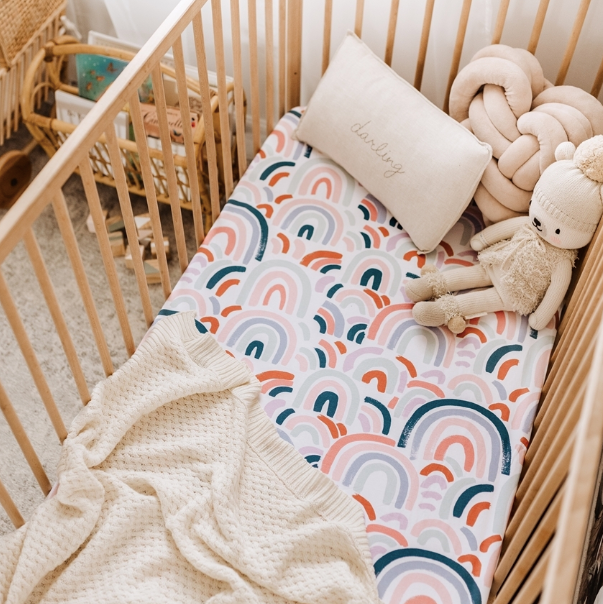 Snuggle Hunny Kids | Baby Fitted Cot Sheet - Rainbow | Little Lights Co.