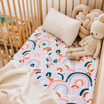 Snuggle Hunny Kids | Baby Fitted Cot Sheet - Rainbow - Little Lights Co.