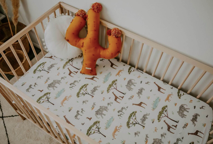 Snuggle Hunny Kids | Fitted Cot Sheet - Safari | Little Lights Co.