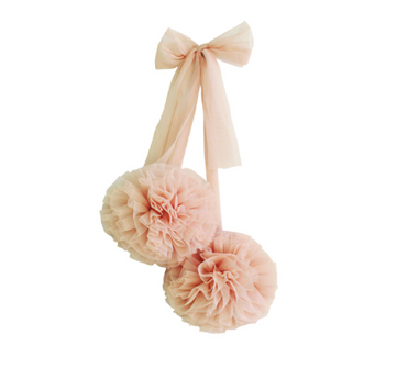 Tulle Pom Pom Decor Set 2pcs - Champagne | Alimrose | Little Lights Co.