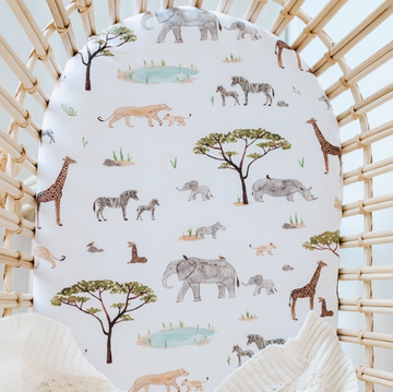 Safari Bassinet Sheet / Change Pad Cover | Snuggle Hunny Kids | Little Lights Co.