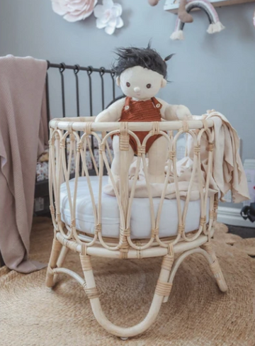Arlo Rattan Dolls Bassinet | Nudie Baby | Little Lights Co.