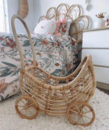 Rattan Dolls Pram | Inkah PRE ORDER | Little Lights Co.