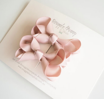Piggy Tail Bow Clips, Nude | Snuggle Hunny Kids | Little Lights Co.