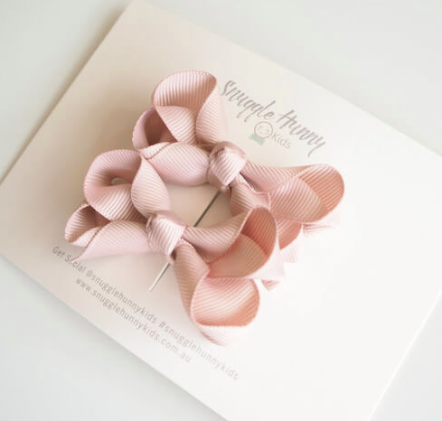 Piggy Tail Bow Clips, Nude | Snuggle Hunny Kids - Little Lights Co.