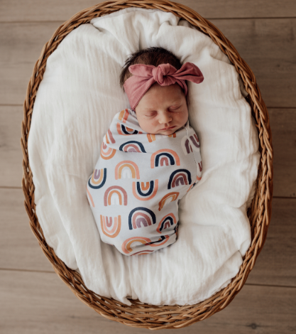 Snuggle Swaddle & Beanie Set, Sunset Rainbow | Snuggle Hunny Kids - Little Lights Co.