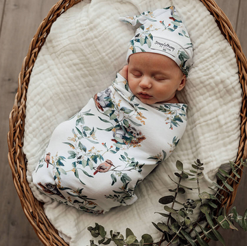 Snuggle Swaddle & Beanie Set, Eucalypt | Snuggle Hunny Kids | Little Lights Co.