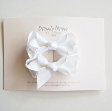 Piggy Tail Bow Clips, White | Snuggle Hunny Kids | Little Lights Co.
