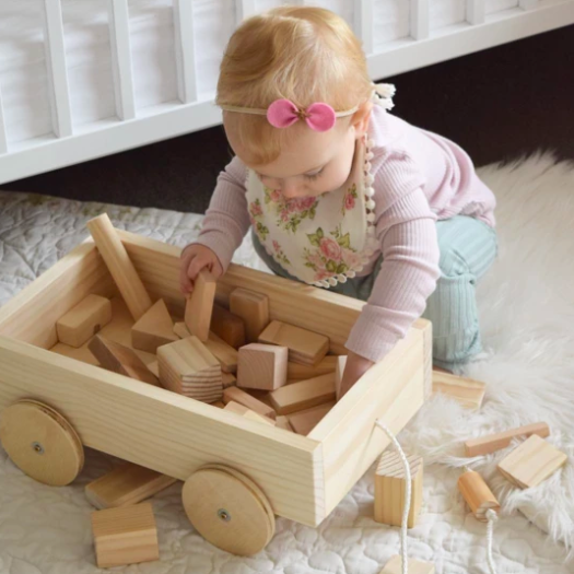 Natural Wooden Pull Along Trolley | Grove and Willow | Little Lights Co.
