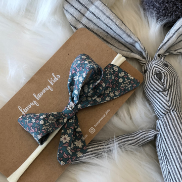 Liberty Bow Headband - Floral Vintage Navy Blue | Little Lights Co.