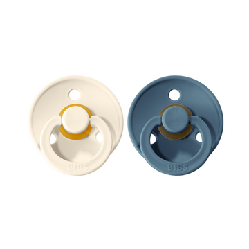 BIBS Pacifier Duo Pack - Ivory / Petrol Blue- Size 1 Newborn | BIBS Dummies