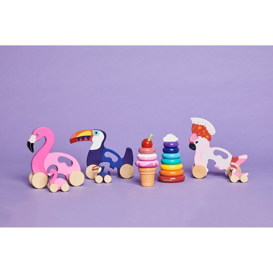 Sunnylife Push & Pull Flamingo Toy - Little Lights Co.