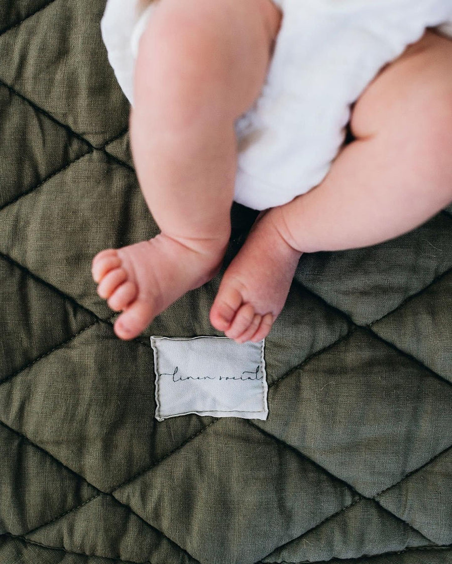 PREORDER - Olive Baby Playmat | Linen Social | Little Lights Co.