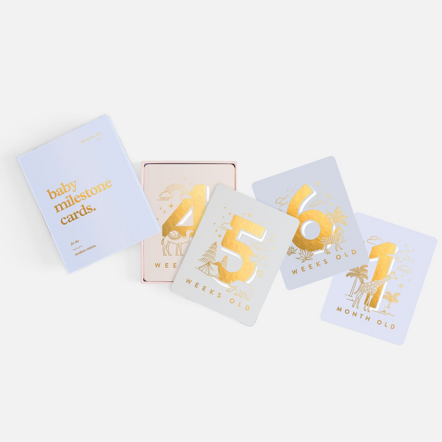 Baby Milestone Cards - Powder Blue  | Fox & Fallow | Little Lights Co.