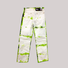 "Load image into Gallery viewer, TIE DYE JEANS. 26"". LIME FOREST."