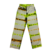 "Load image into Gallery viewer, TIE DYE TROUSER. 28"". SWAMP GREEN."