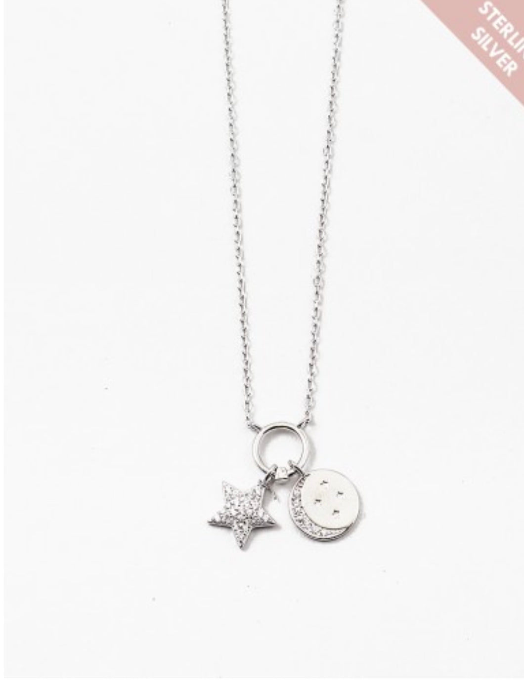 Sterling Silver Moon & Star Necklace