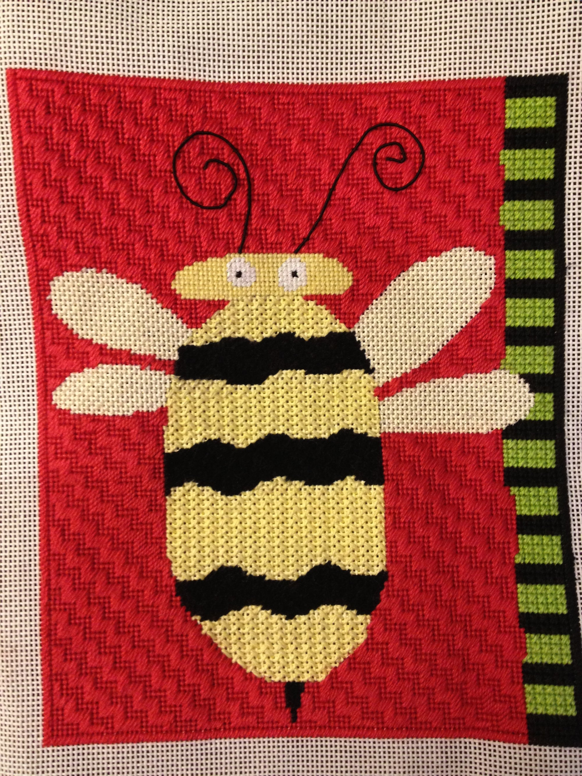 Maggie & Co. bumble bee canvas (completed)