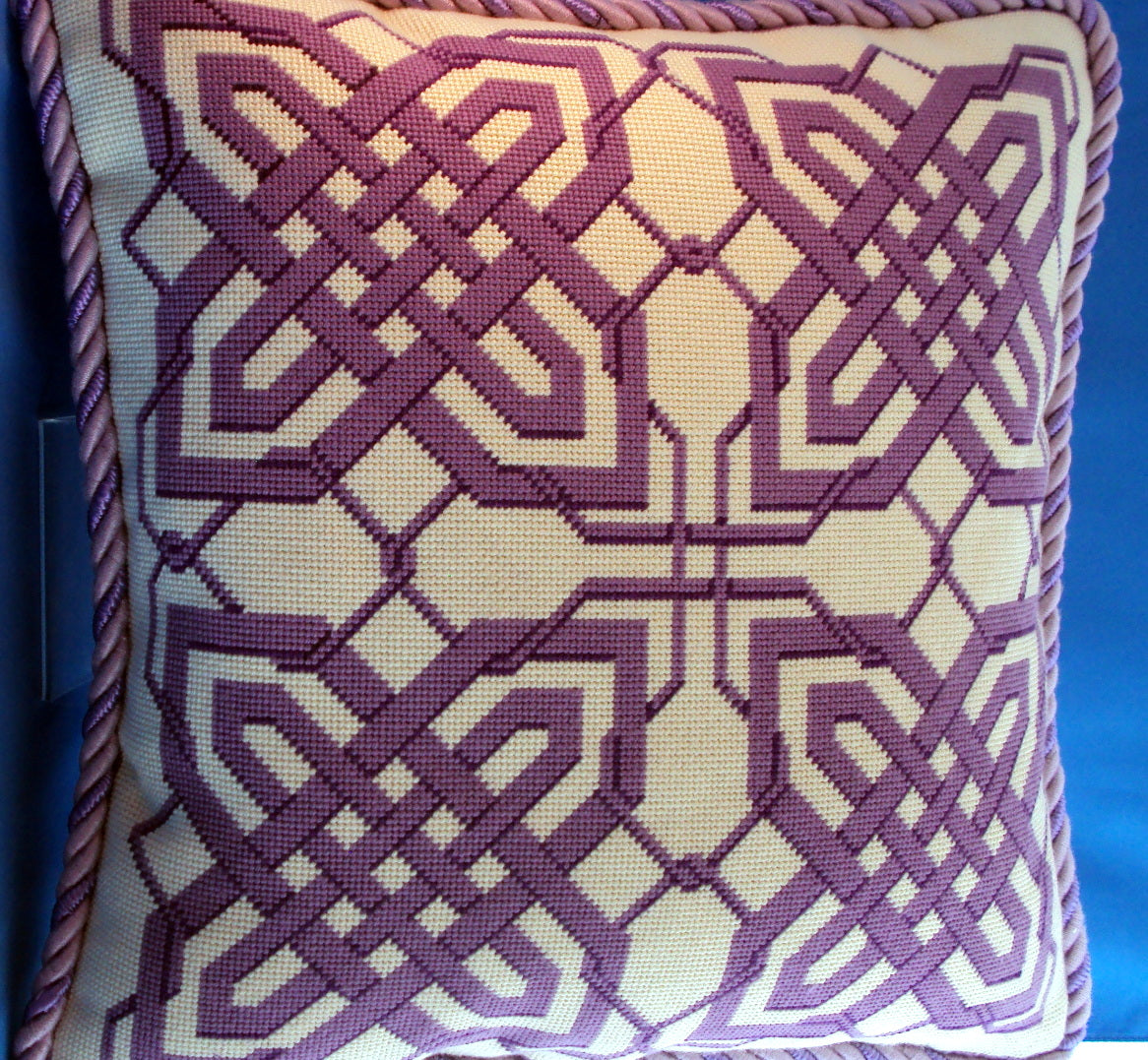 Susan Battle Needlepoint Purple Lattice