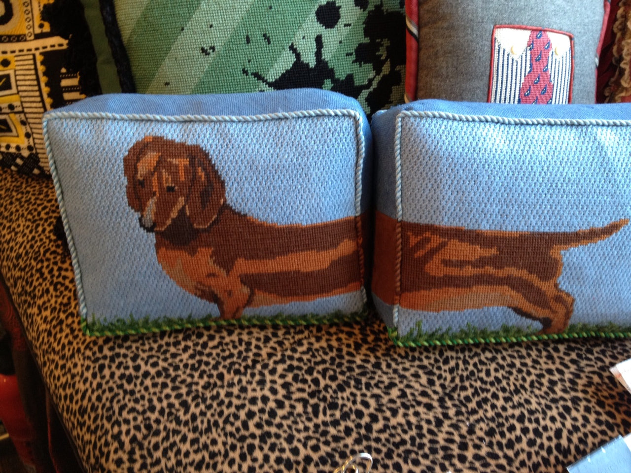 Susan Battle Needlepoint 's Two Part Dachshund Pillow