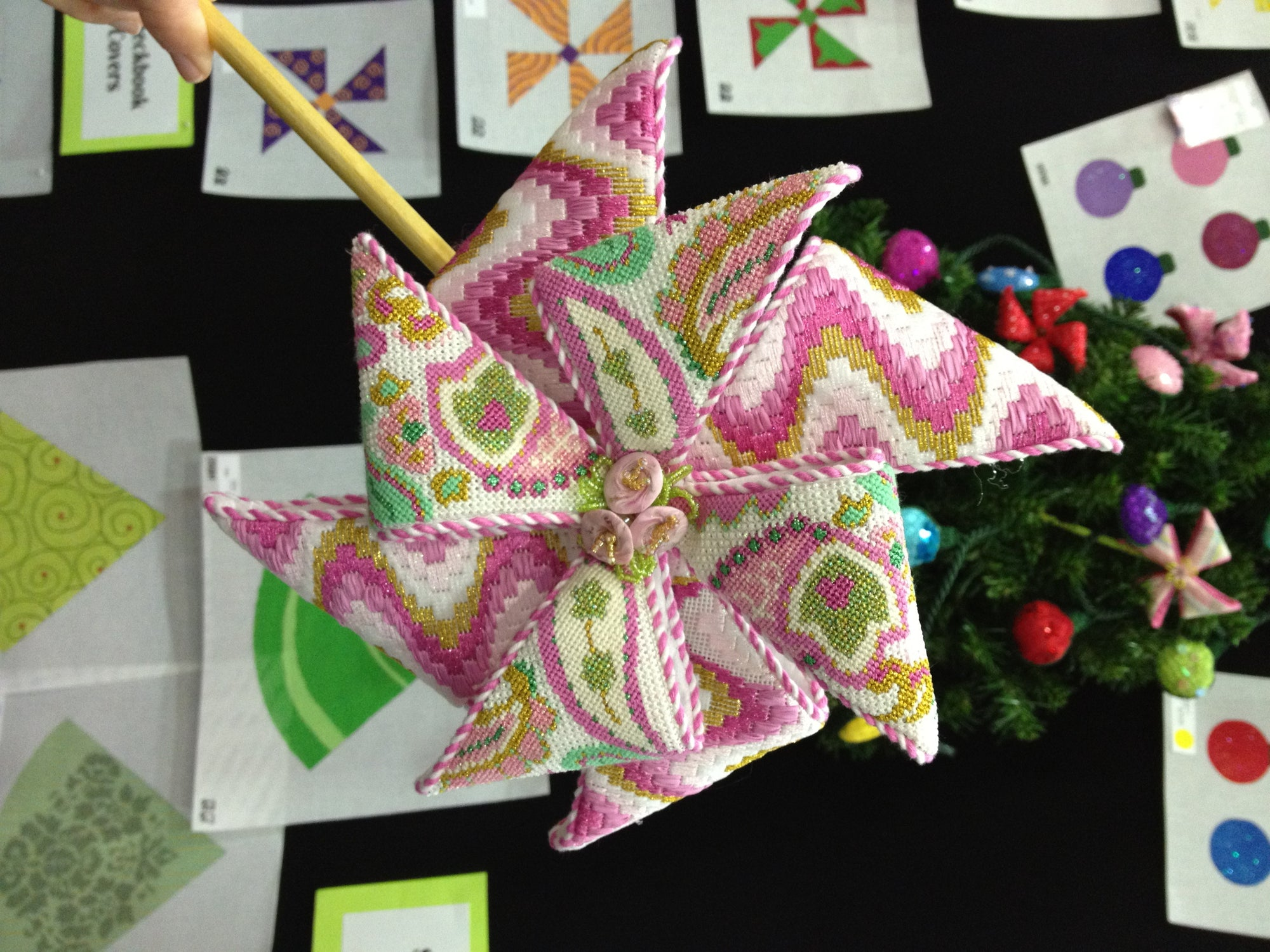 Finished Pinwheel Needlepoint Canvas from What's the Point?