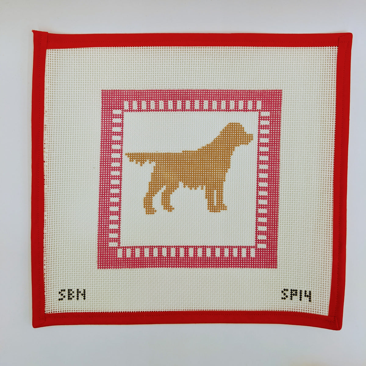 Golden Retriever with Pink Border (on 10 Mesh)