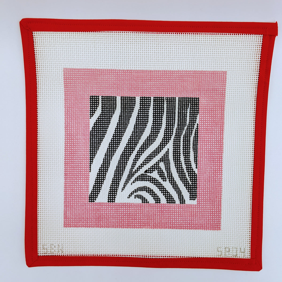 Zebra with Pink Border (on 10 mesh)
