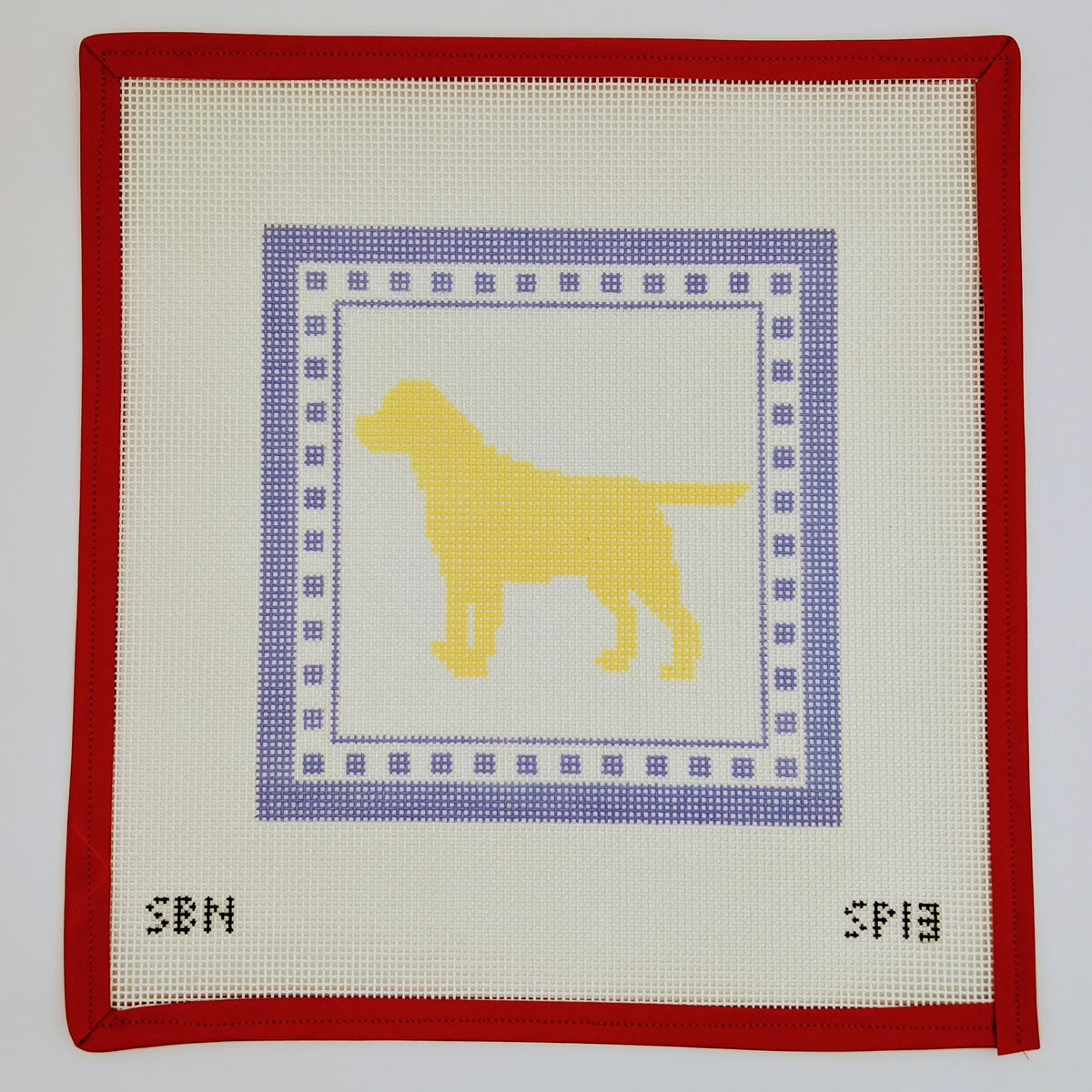 Yellow Lab with Blue Border (on 10 mesh)