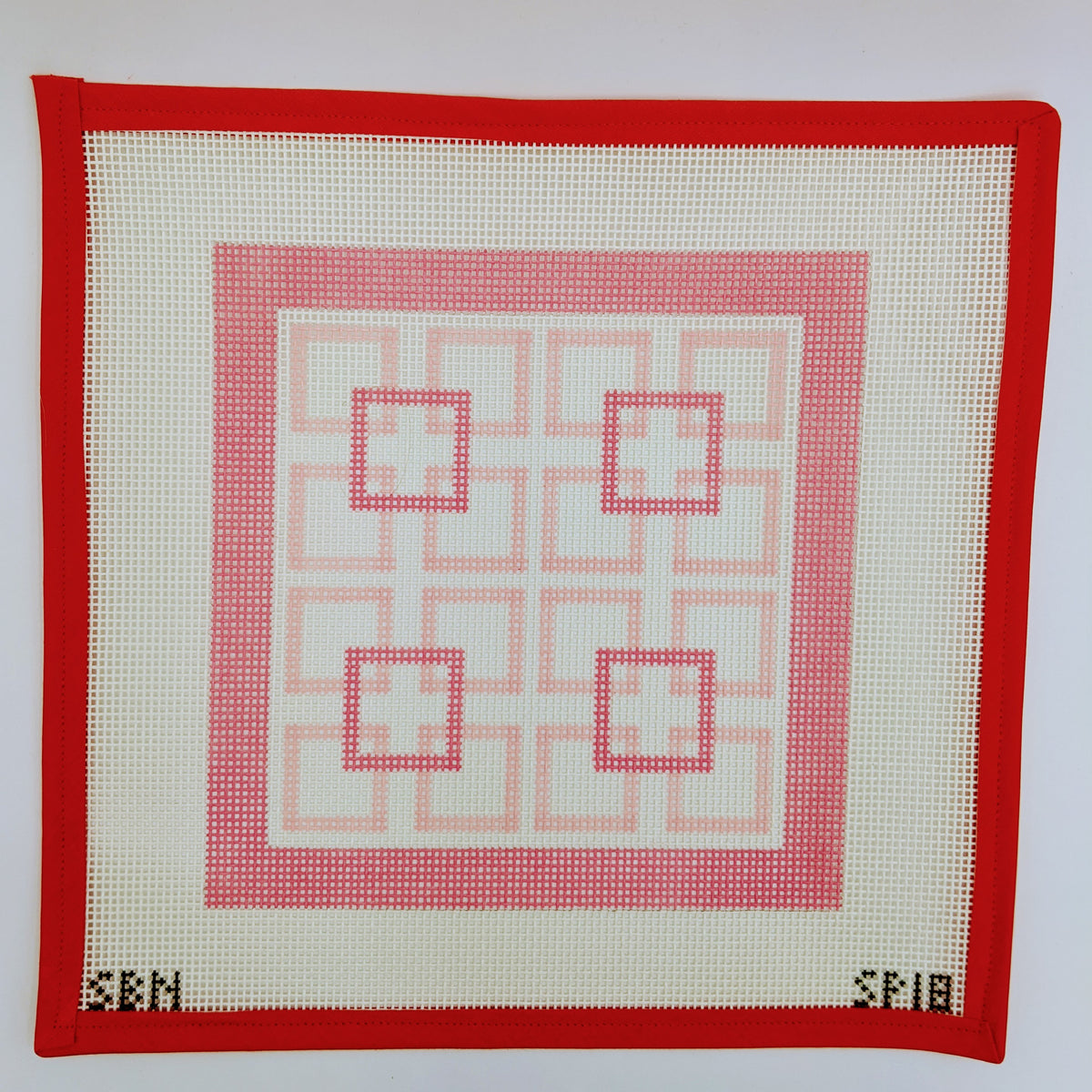 Shell Pink Squares within Squares (on 10 mesh)