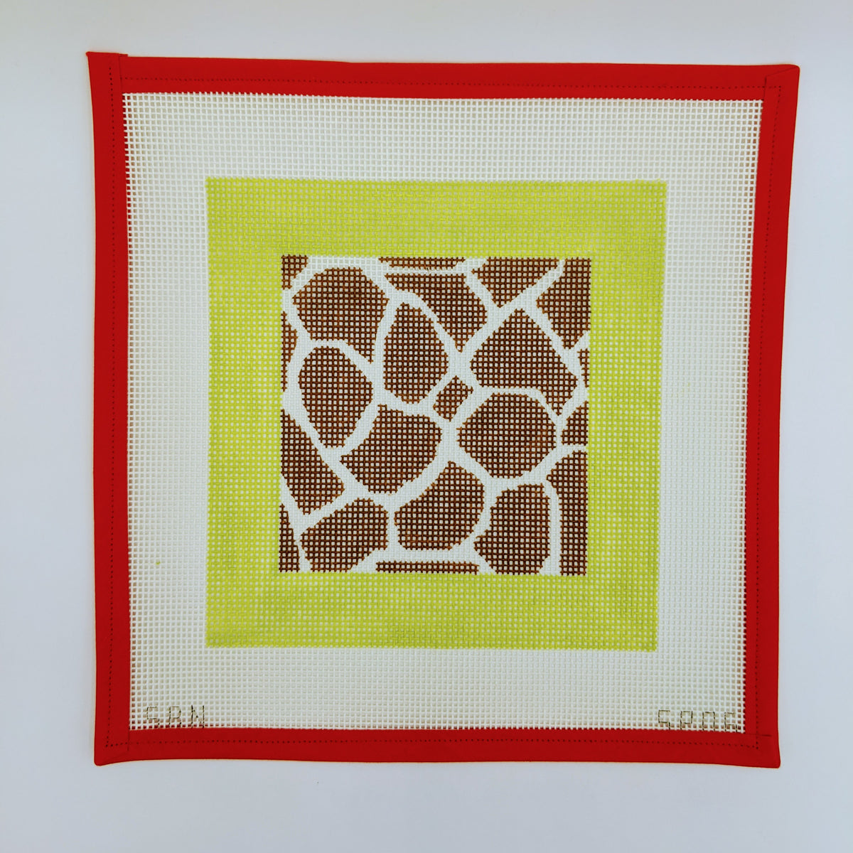 Giraffe with Lime Border (on 10 mesh)