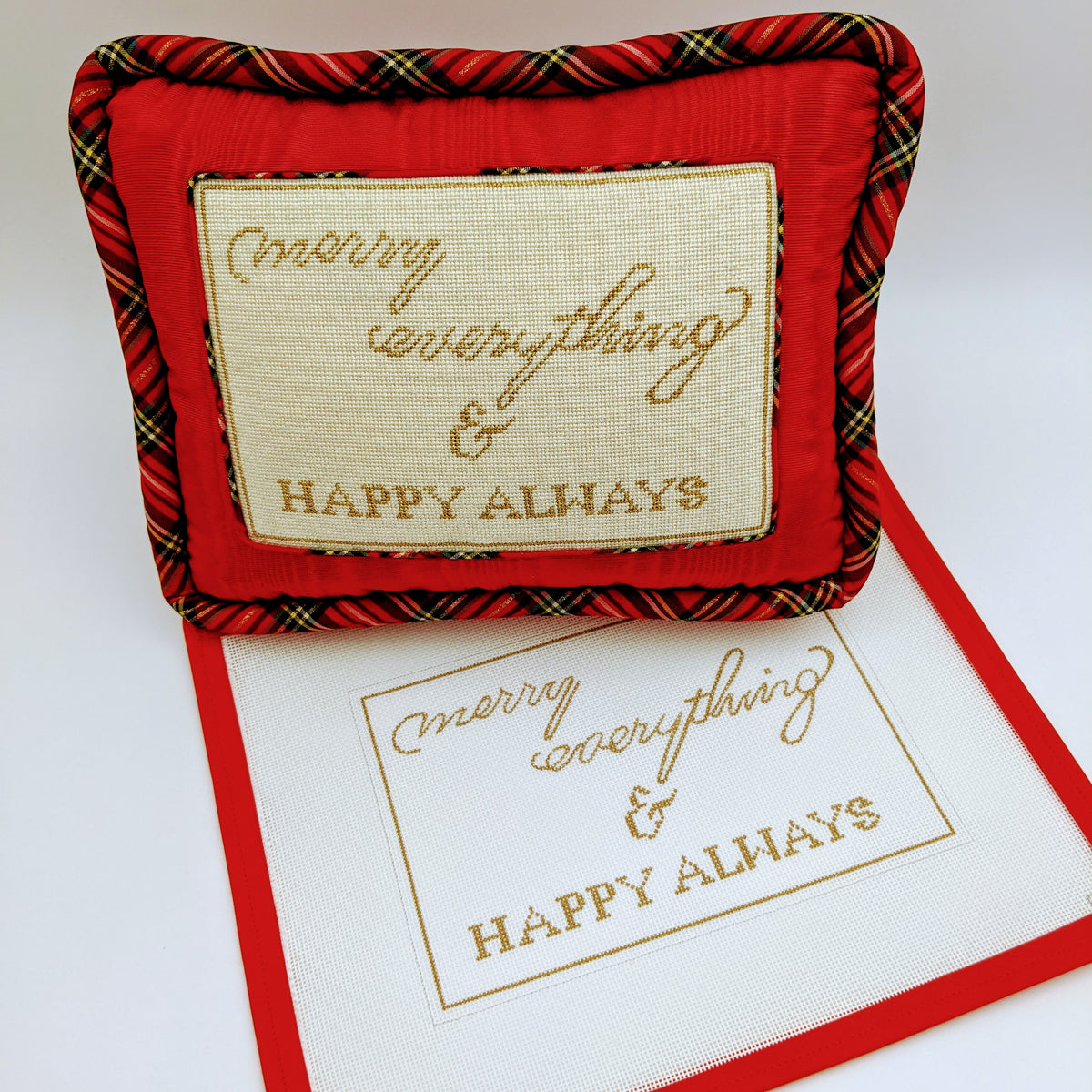 Merry Everything & Happy Always Pillow on 13 mesh